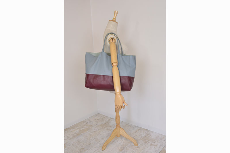 Used CELINE Light Blue / Bordeaux Leather Horizontal Cabas Bi ...
